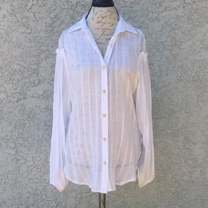 Free People Button Down Sheer Long Sleeve Blouse